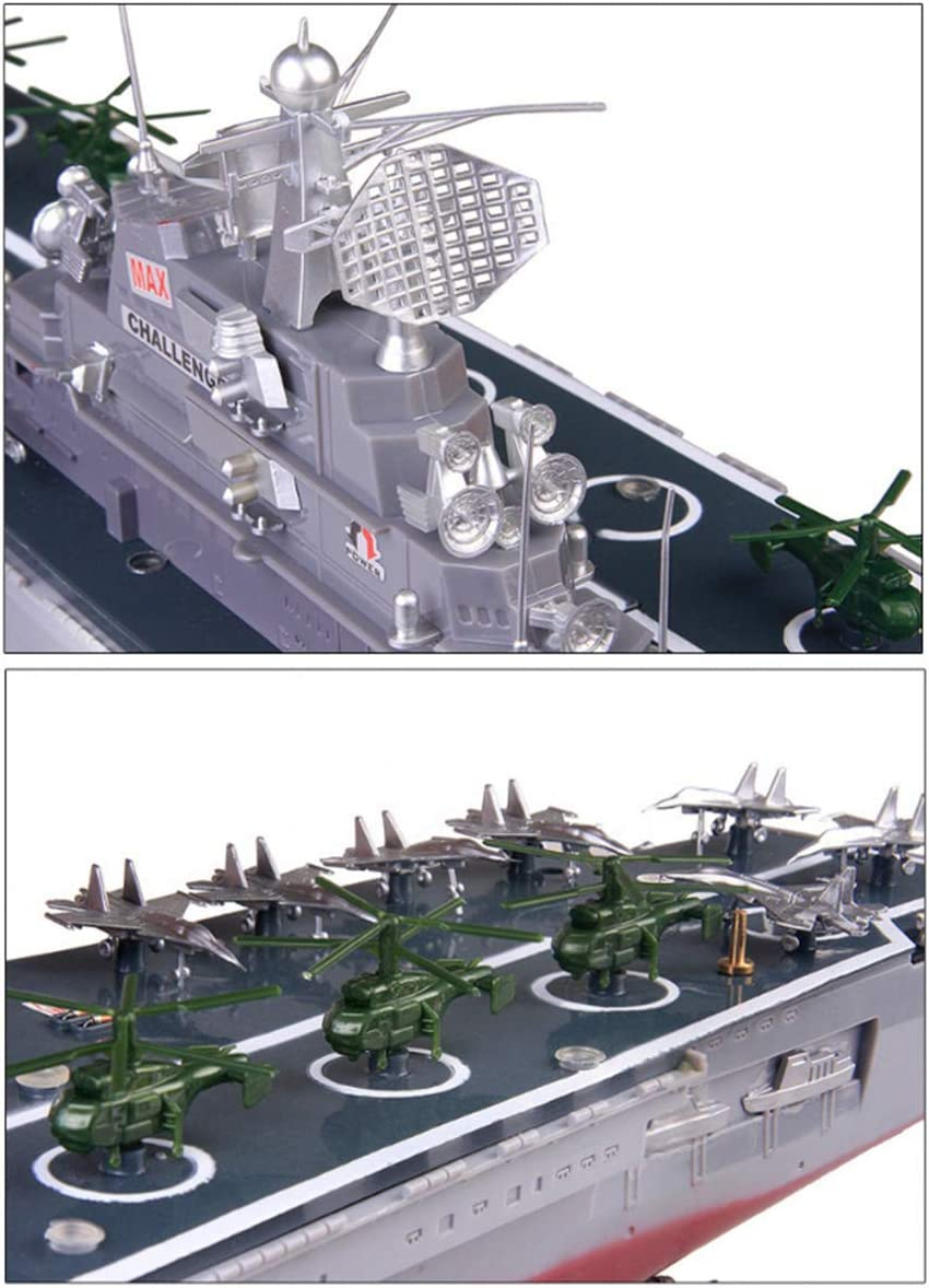 JZH-Light RC Boat 2.4Ghz Remote Control Ship Aircraft Carrier Warship Battleship Cruiser High Speed Boat RC Racing Toy for Kids Or Adults No Antenna Required