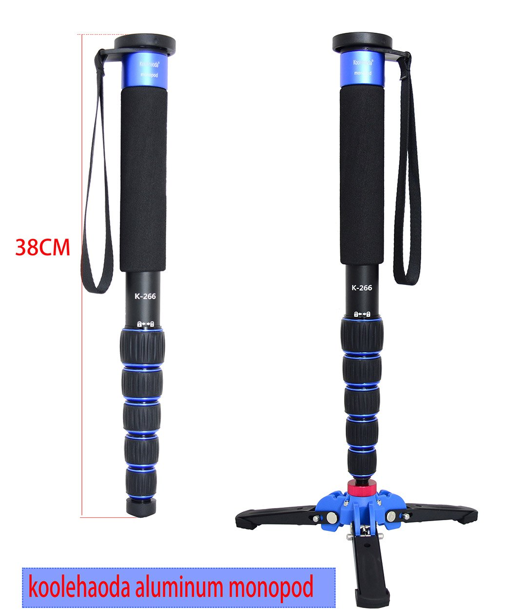 Koolehaoda Lightweight Portable 63-inches Camera Aluminium Monopod with Folding Three Feet Support Stand. 6-Section Leg, Leg max Diameter: Φ28MM, Folding Length: 420mm (16.5'').(K-266 Blue)