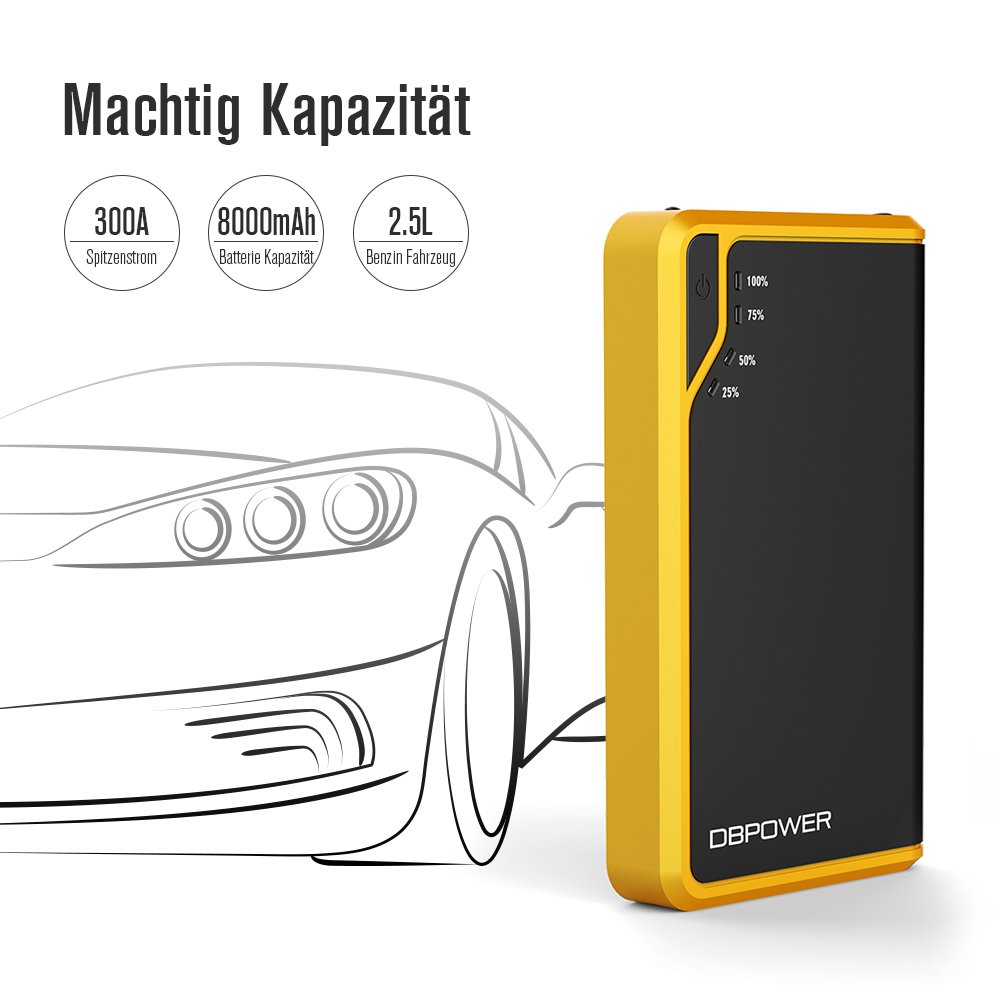 Power Bank with LED Flashlight for Phone Tablet and More Black//Yellow 2.5L Petrol Engine Max Emergency Battery Booster Pack DBPOWER 300A 8000mAh Portable Mini Car Jump Starter