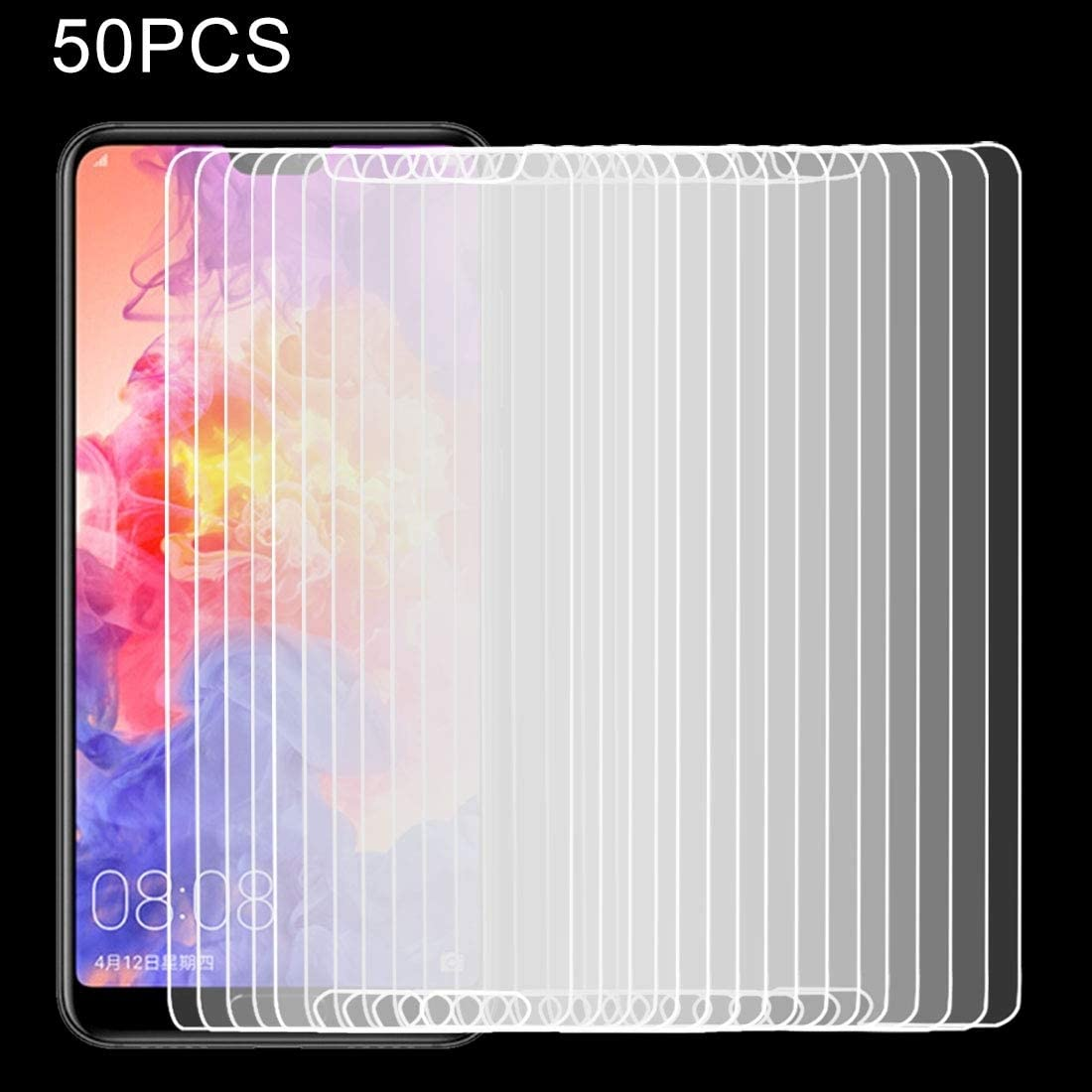 GzPuluz Glass Protector Film 50 PCS for Huawei P20 Pro 0.26mm 9H Surface Hardness 2.5D Explosion-Proof Tempered Glass Screen Film No Retail Package