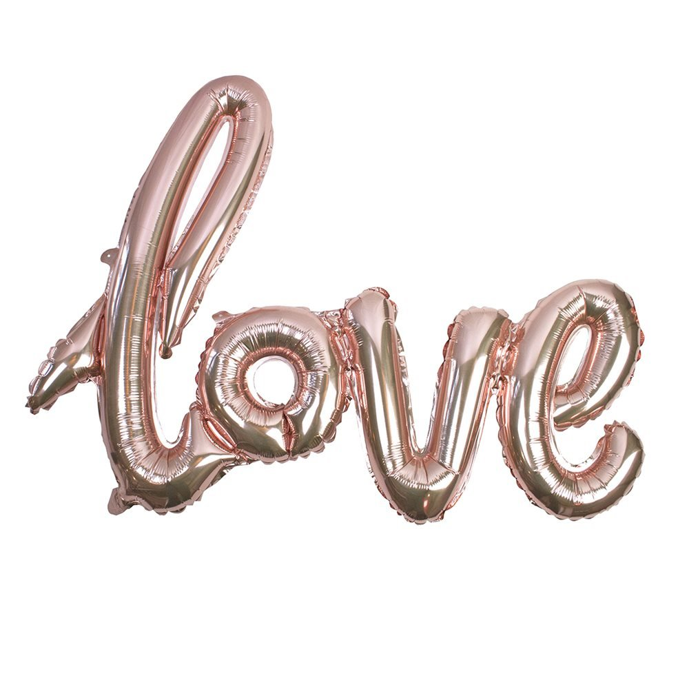 Talking Tables Truly Romantic 29'' x 21'' Rose Gold Foil Love Balloon Cursive Style for Valentines Day or a Pink Party, Rose Gold
