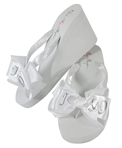 803619df4e60 I Do White and Silver Satin Bow Bridal Flip Flops for The Wedding in 3.5  inch
