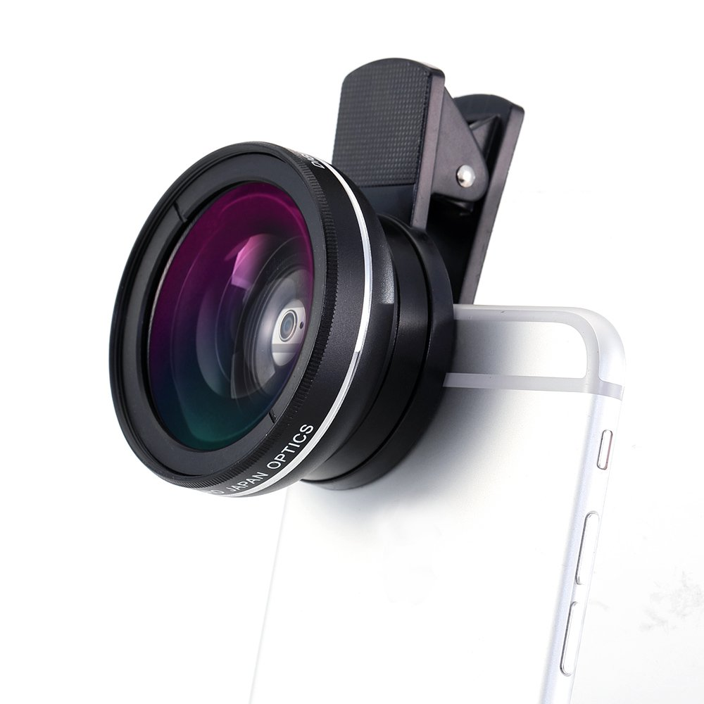 NOCOEX® 2 in 1 Clip-On Professional High Definition Camera Lens - 0.45X Wide Angle Lens, 10X Macro Lens Suitable for All smartphone Tablet Use-Black Color EX6701A