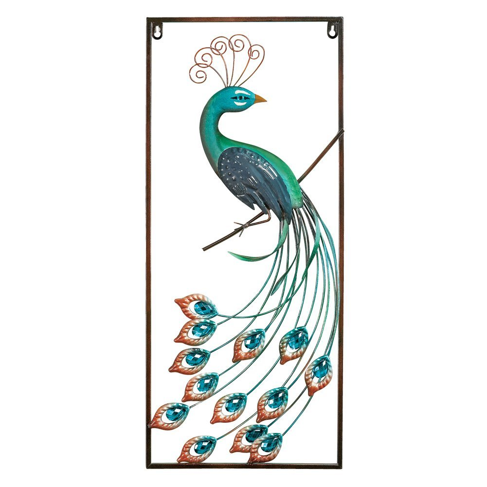 Amazon com metal elegant peacock wall art home kitchen