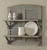 Farmhouse Style Double Shutter Shelf with Weathered Gray Finish, 24x22x6.25 Inch