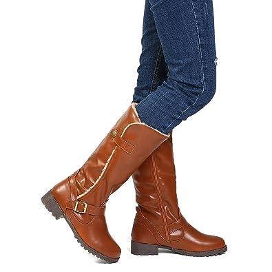 f405229b48852 Gracosy Bottes Hautes Fourrure Femmes, Chaussures Plates Ville Fourrées en  Cuir Synthétique à Talons Plats