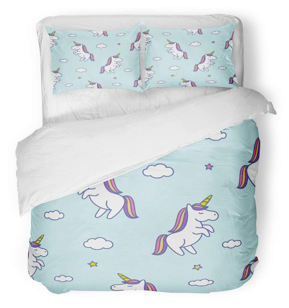 Emvency 3 Piece Duvet Cover Set Breathable Brushed Microfiber Fabric Colorful Rainbow with Doodle Style Unicorns Clouds and Stars on Blue Sky Pink Bedding Set with 2 Pillow Covers Full/Queen Size