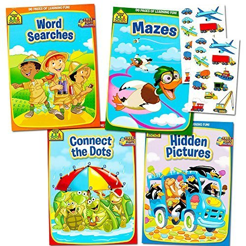 School Zone Activity Book Set Kids 4 Books Mazes Connect the Dots Hidden Pictures Word Searches Stickers