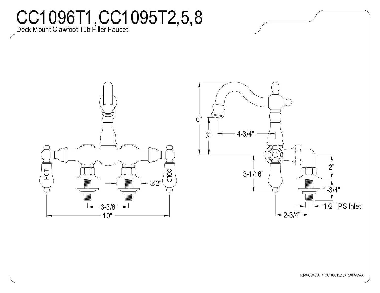 Kingston Brass CC1096T1 Heritage 3-3//8-Inch Center Leg Tub Filler H/&C Porcelain lever Handle Polished Chrome