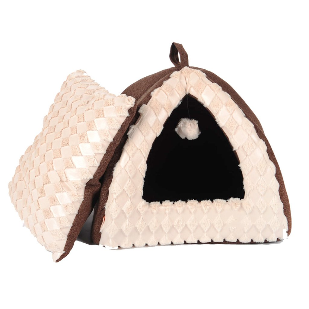 M SXHDMY-Pet bed Warm Closed Portable Foldable Cat Tent Cat House with Small Ball S  40X40X34cm,M 45X45X38cm (Size   M)