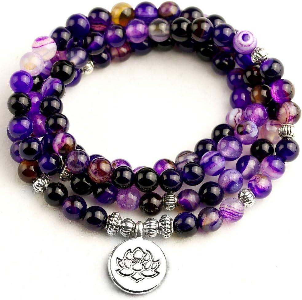 WOVP Pulsera Pulsera De Las Mujeres Línea Púrpura Brillante Perlas con Lotus Buddha Charm Yoga Pulsera 108 6 Mm Collar De Perlas Hombres
