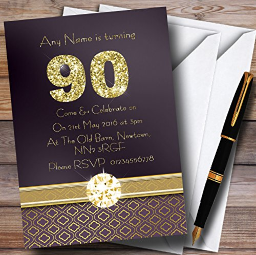(Purple Satin And Gold 90Th Personalized Birthday Party Invitations)