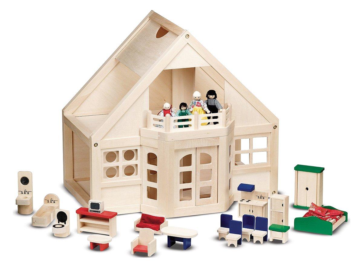 Melissa U0026 Doug Deluxe Wooden Furnished Dollhouse, Dollhouses   Amazon Canada