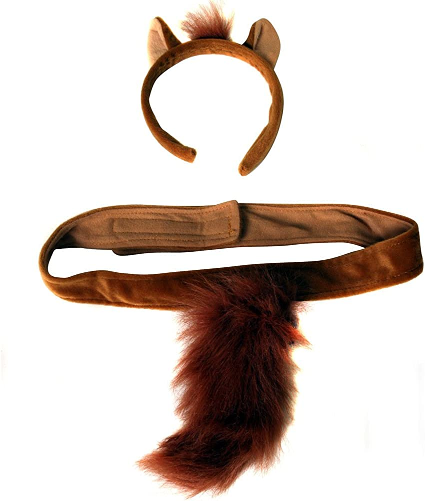 Amazon.com: Diadema con orejas y cola de mono de pelucha ...
