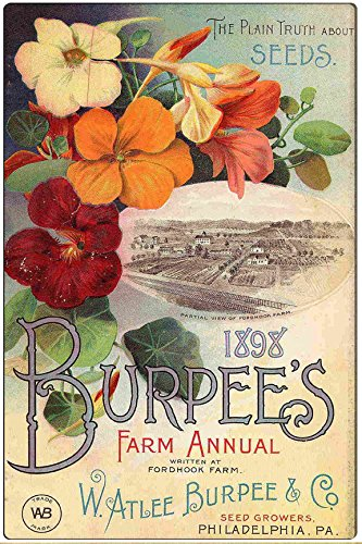 Pixy Ink 1898 Burpee's and Company Seed Co. Vintage Advertising Metal Wall Plaque Sign (Seed Signs Vintage)