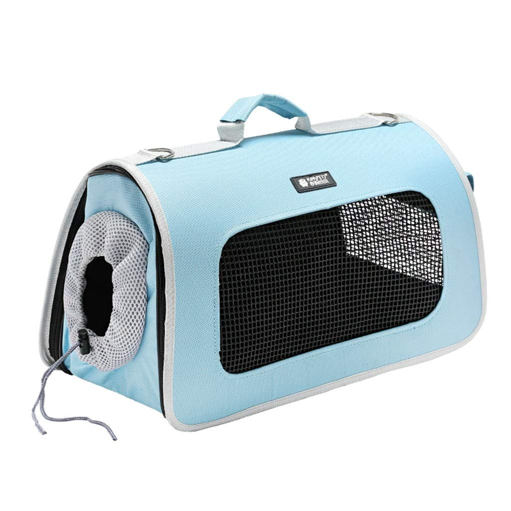 bluee 214225cm bluee 214225cm Cages, Crates & Carriers Pet Travel Box Dog Out Backpack Portable Pet Bag Cat Handbag Pet Home Ventilation Cage Multi-Function Pet Suitcase Bearing 2-6KG (color   bluee, Size   21  42  25cm)