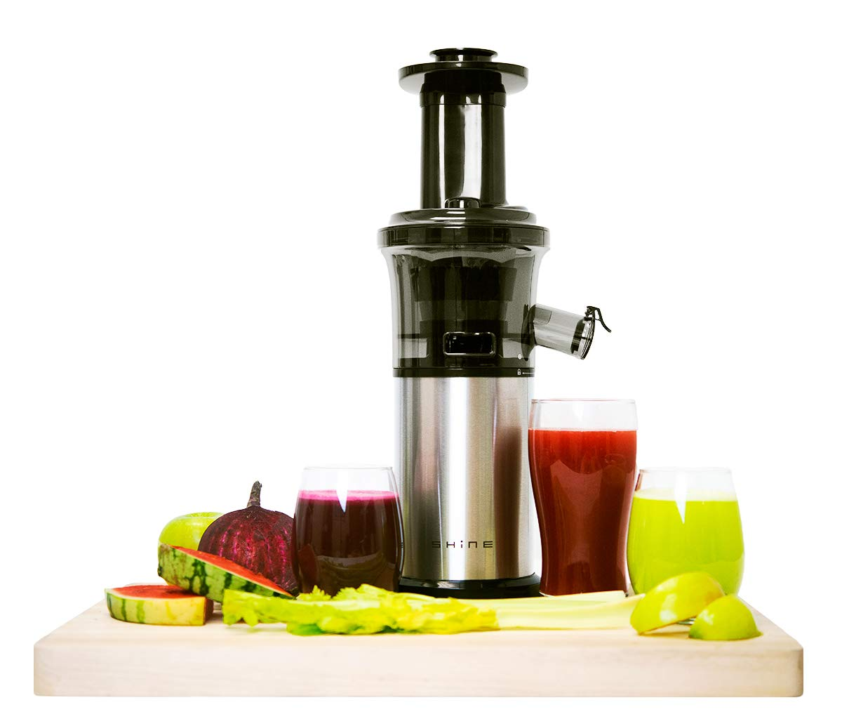 Shine Kitchen Co. Vertical Slow Juicer, SJV-107-A Cold Press, Masticating Juice Extractor, Silver and Black