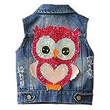 Little Girls Denim Vest Spring Autumn Sequins Owl Vest Coat (5-6Years)