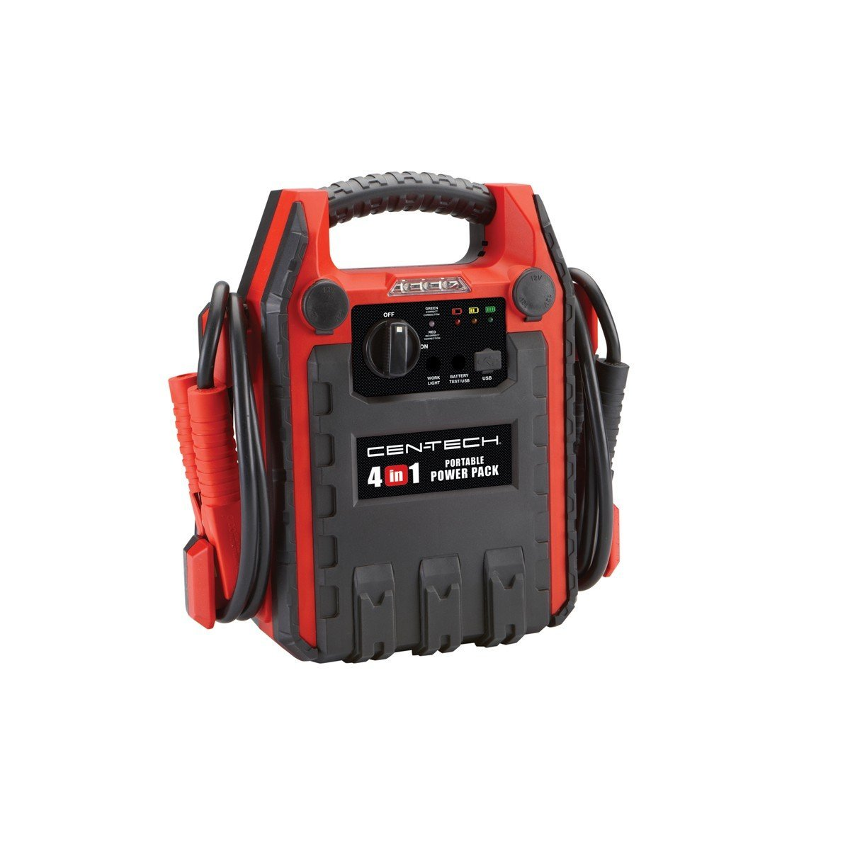 4-in-1 Jump Starter with 260 PSI Air Compressor; 12VDC outlet; Built-in Work Light Cen-Tech