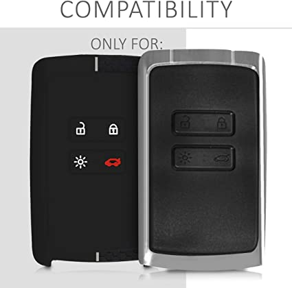 - PU Leather Car Key Fob Cover only Keyless Go kwmobile Car Key Cover Compatible with Renault 4 Button Car Key Smart Key Rally Stripe Red//Black
