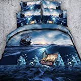 EsyDream Pirate Boat Seabed Treasure Chest Design Duvet Cover Sheet Sets Seabed Treasure Chest Bedspreads Sheet,Twin Size 4PC/Set(1 Duvet Cover +1 Flat Bed Sheet+2 Pillowcase)