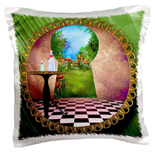3dRose pc_128860_1 Through The Keyholes Alice in Wonderland Art Checkered Floor Bottle of Magic Water Pillow Case, 16