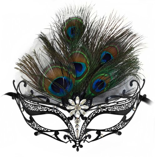 Success Creations Orleans Black Venetian Masquerade Mask for Women w/ Center Peacock Feathers ()