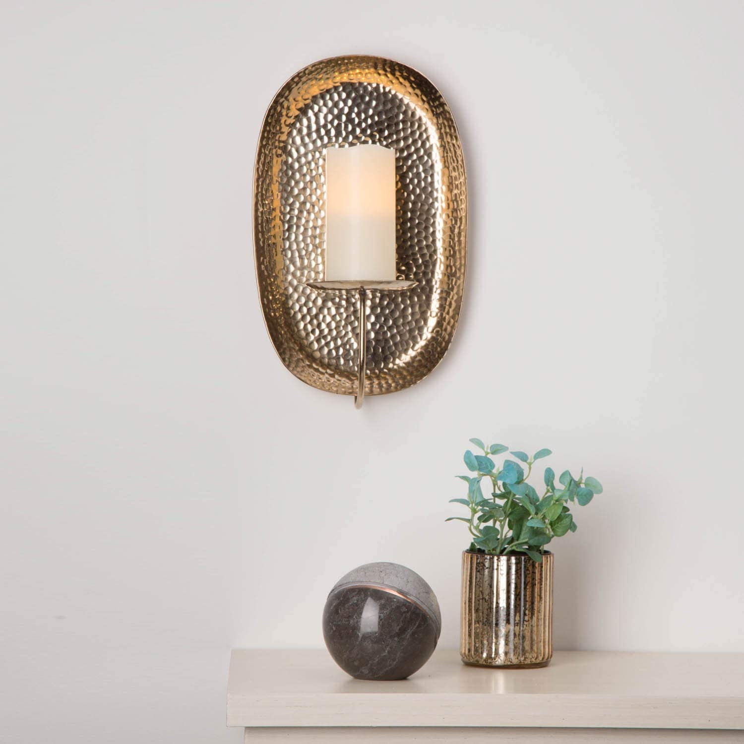 Fits up to 3 Inch Diameter Pillar Candles Brass Plated LampLust Wall Candle Holder Sconce Wall Art for Home Decor 15 Inch Tall Modern Hammered Finish