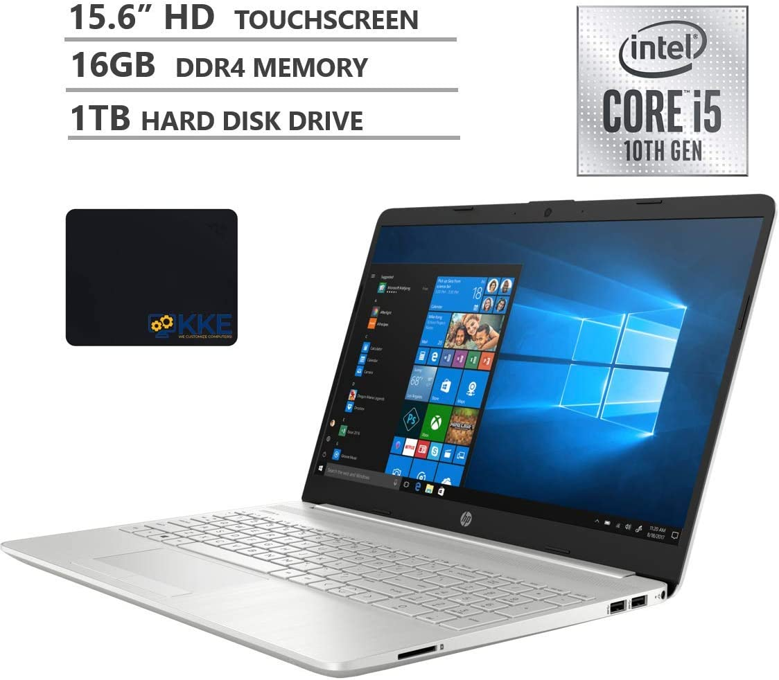"2020 Newest HP Pavilion 15 Laptop, 15.6"" HD Touchscreen, 10th Gen Intel Core i5-1035G1 Processor up to 3.6GHz, 16GB DDR4 Memory, 1TB HDD, Backlit Keyboard, HDMI, Win10, Silver, KKE Mousepad"