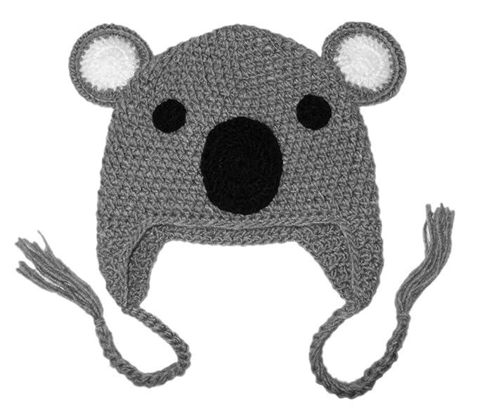 f1dd66f8330 BIBITIME Handmade Knit Koala Hat Bear Ear Beanie Braid Earflap Warm Cap for  Kids (Grey