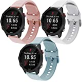 Intoval Compatible with Garmin Forerunner 245 bands/245 Music Bands,20mm Soft Silicone Women Men Sport Band Replacement Wrist Straps for Garmin 245/645 GPS Running Watch.(White+Pink+Light Blue