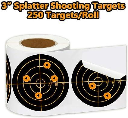 250pcs//Roll Adhesive Targets Shooting Training Target Sticker 7.5cm 3inch