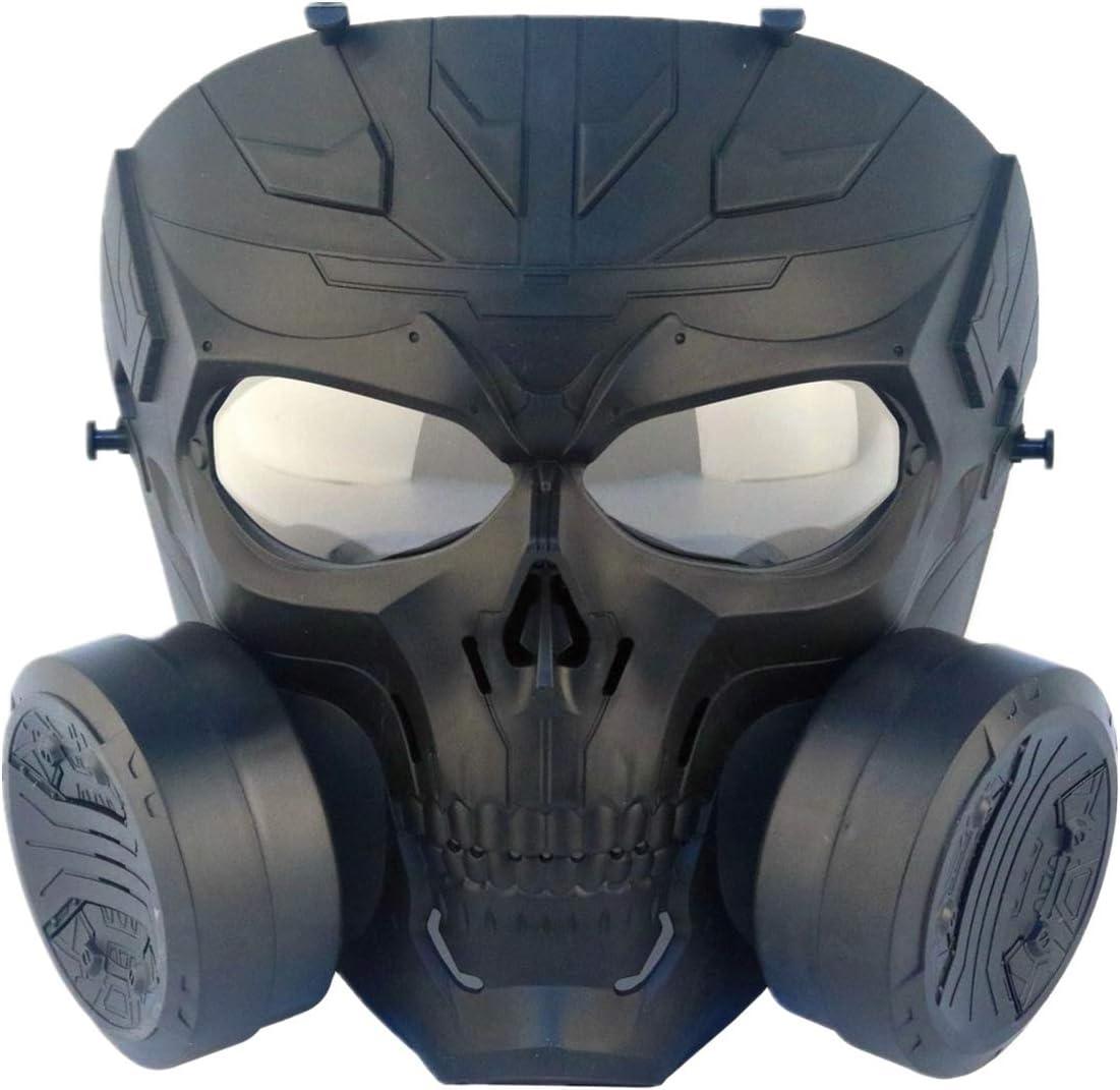 FOJMAI Tactical Airsoft Paintball Equipo de protección maniquí de lente transparente antivaho gas máscara mecánica con doble ventilador turbo