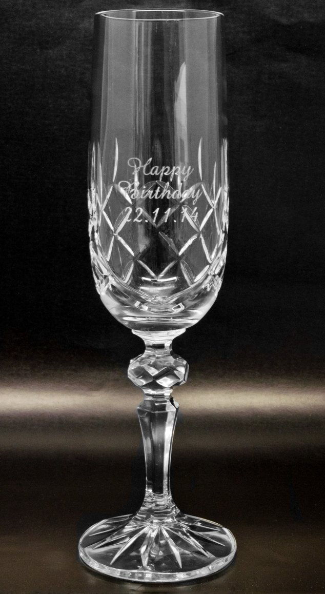 Personalised 24% Lead Cut Crystal Glass Champagne Flute, Engraved With Any Message County Engraving