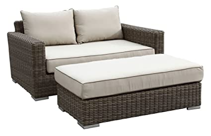 Sunset West Coronado Double Chaise With Driftwood/Light Brown/Tan/Grey  Frame And