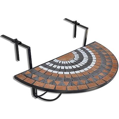 Anself Table de balcon suspendue Demi-circulaire