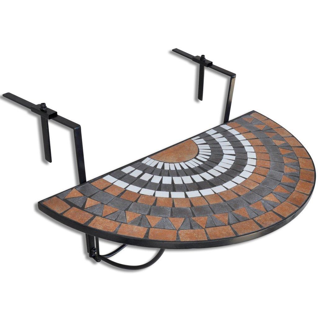 Anself Balcony Table Hanging Semi-circular 76 x 56 x 64 cm,Terracotta White