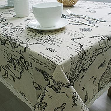 Efine Vintage World Map Rectangular Cotton Washable Cloth Table Desk Sofa Cover Home Decoration Tablecloth (39.3x55.1)