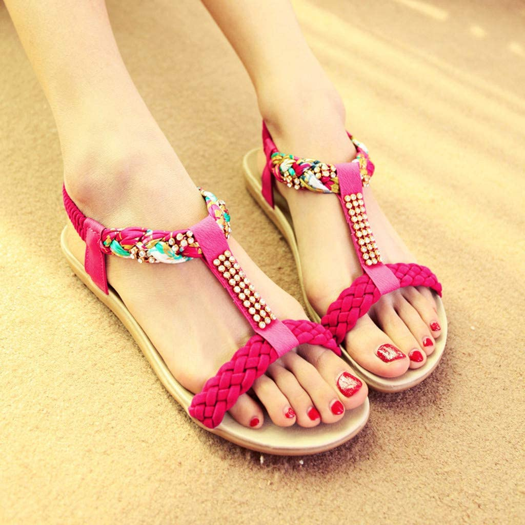 RAISINGTOP Womens Espadrille Flatform Sandals Summer Open Toe Casual Flat Beach Slipper Bohemian Crystal Flats Shoes