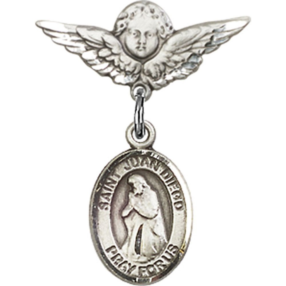 Sterling Silver Baby Badge with St. Juan Diego Charm and Angel w/Wings Badge Pin 7/8 X 3/4 inches