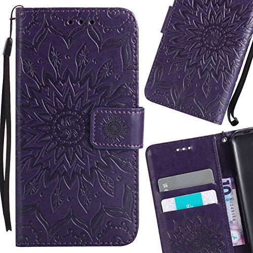 LEMORRY Nokia 5 Custodia Pelle Cuoio Flip Portafoglio Borsa Sottile Bumper Protettivo Magnetico Morbido Silicone TPU Cover Custodia per Nokia 5, Fiorire (Porpora) Viola