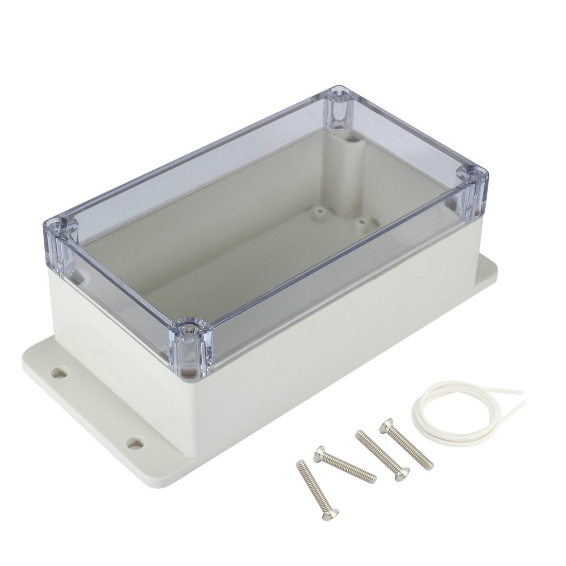uxcell 6.2x3.5x2.5(158mmx90mmx64mm) ABS Junction Box Universal Project Enclosure w PC Transparent Cover a17031600ux1137