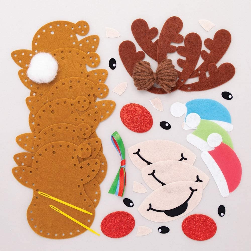 Baker Ross Reindeer Decoration Sewing Kits Christmas Arts and Crafts Pack of 3