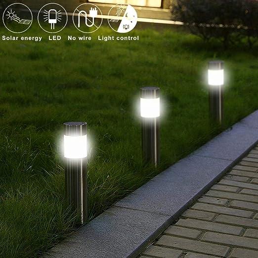 GYBYB Lámpara de césped solar LED de acero inoxidable Camino de jardín al aire libre Luz de césped Luz de bolardo solar Luces de palo solar LED Luz blanca: Amazon.es: Iluminación
