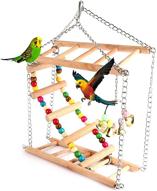 POPETPOP Parque Infantil pájaro Puente Colgante de Madera Escalera Colgante para Mascotas escaleras Escalada Columpio Juguetes de Doble Capa para pájaro Periquito hámster Periquito cacatúa Loro: Amazon.es: Productos para mascotas