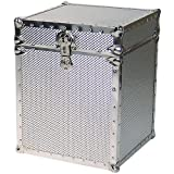 Seward Trunk Embossed Steel Tall Cube Storage Trunk, Silver, 16-inch (SWD5950-46)