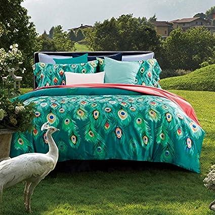 LELVA Peacock Print Set Peacock Duvet Cover Set Cotton Peacock Feather  Bedding Green 4pc (Queen
