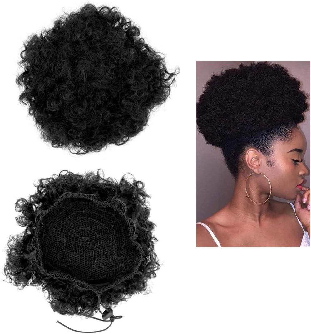 Conjunto de 2 Afro Puff sintético negro con cordón de cola de caballo Corto rizado rizado Moño Extensiones de cabello Wrap Peluca con pinzas