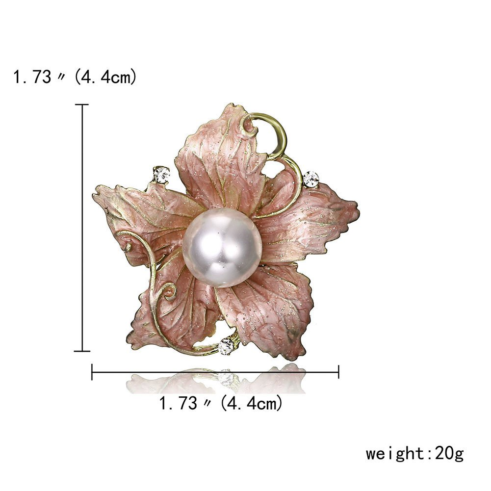 MYANAIL Red Crystal Champagne Rose Flower Zircon Brooch Pin - Glamour Lily (Lily)