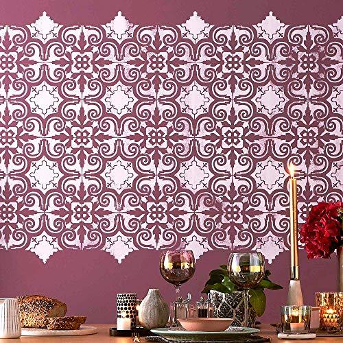 "(Porto Floor Stencil for Painting - Size 13.5""x25.50"" - Backsplash Kitchen Bathroom Tile Stencil)"